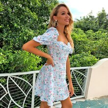 Ditsy Floral Print Puff Sleeve Dress