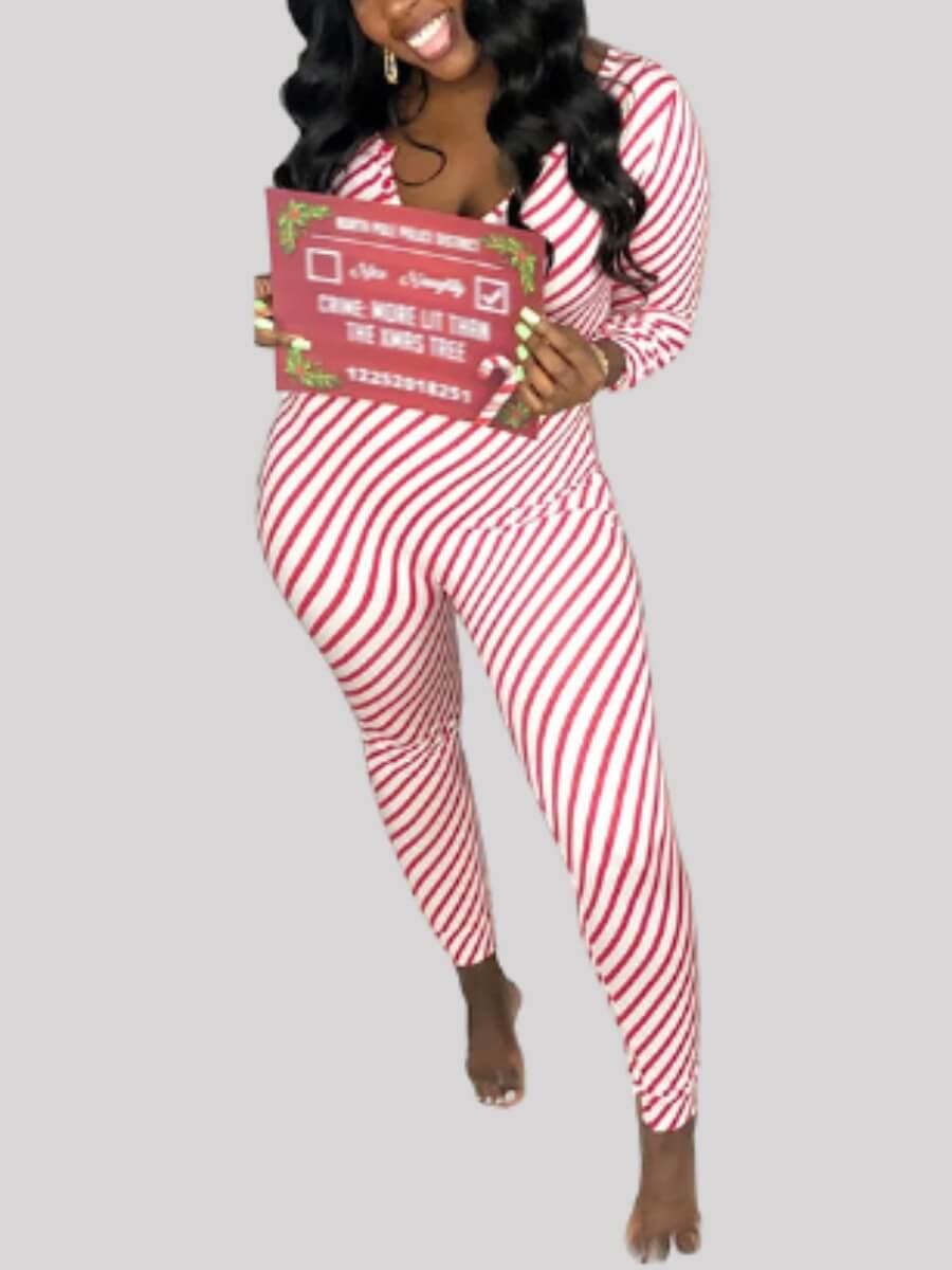 LW Lovely Striped Print Red Sleepwear