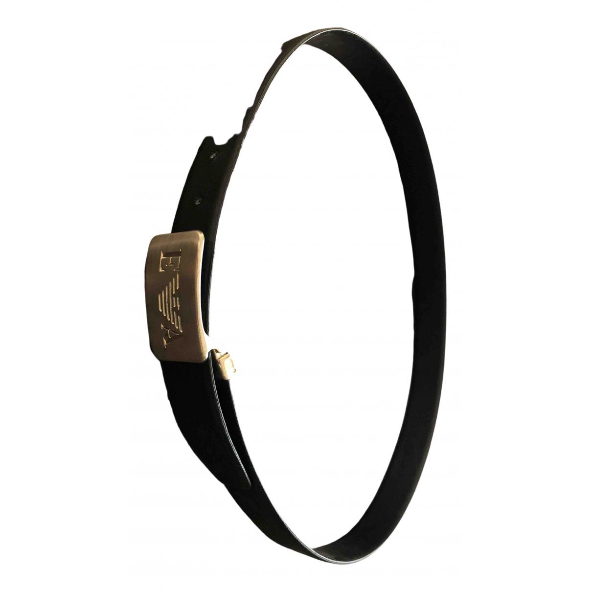 Emporio Armani \N Black Leather belt for Men 100 cm