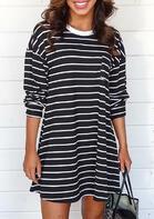 Striped O-Neck Long Sleeve Mini Dress - Black