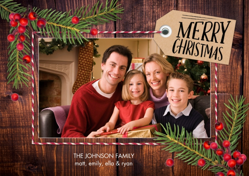 Christmas Photo Cards Flat Glossy Photo Paper Cards with Envelopes, 5x7, Card & Stationery -Christmas Tag Pine Berries