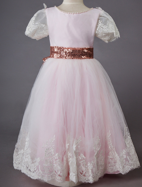 Milanoo Wedding Flower Girl Dress Short Pink Sleeve Lace Kids Social Party Dress