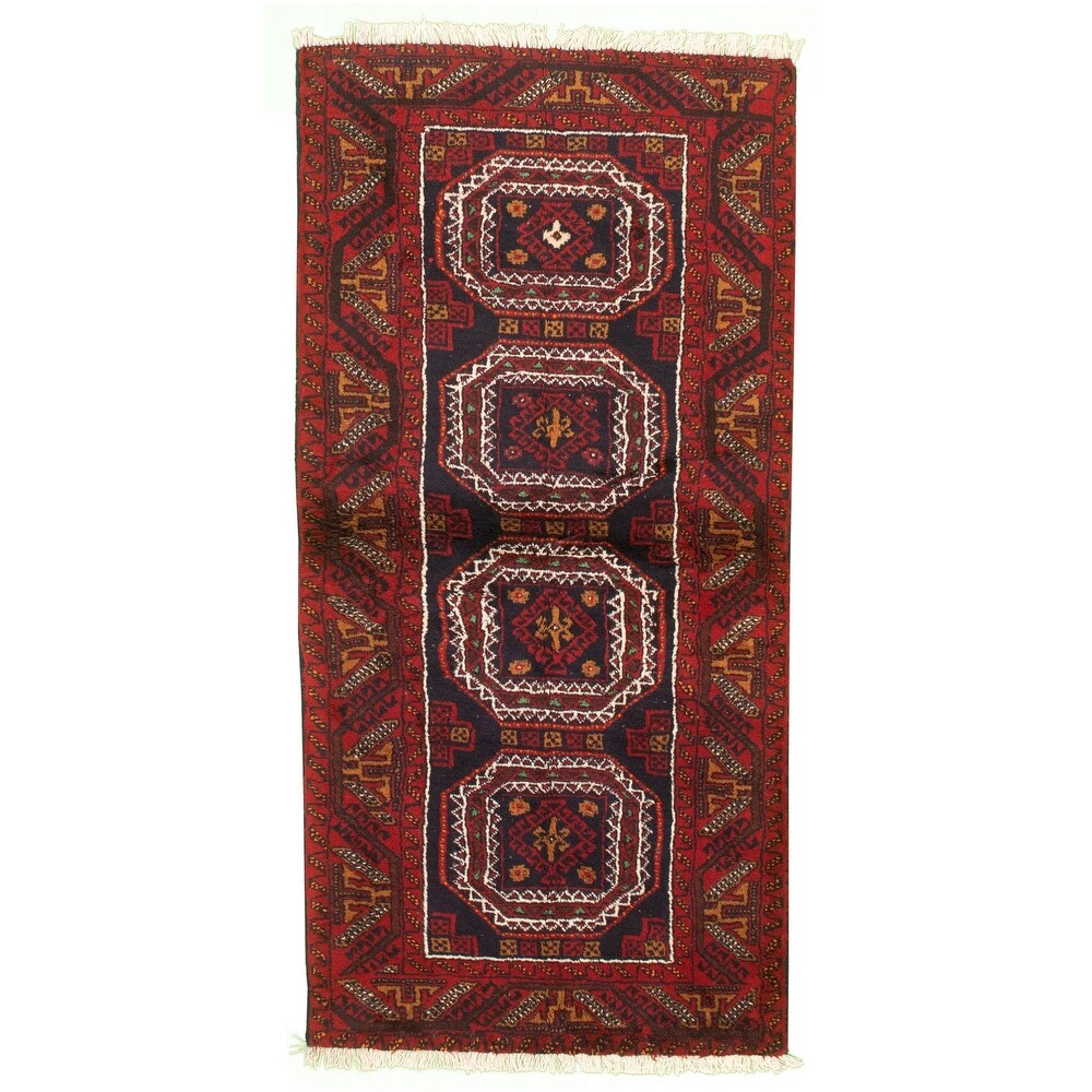 ECARPETGALLERY Hand-knotted Teimani Red Wool Rug - 3'0 x 6'7 (Red - 3'0 x 6'7)