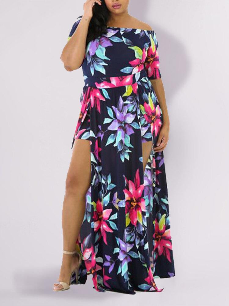 Floral Print Off The Shoulder Split Hem Sexy Plus Size Dress