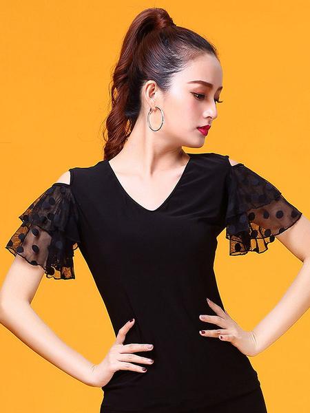 Milanoo Disfraz Halloween Disfraz de baile de salon Top negro mujer manga de entrenamiento de campana Camiseta Ropa de baile Carnaval Halloween
