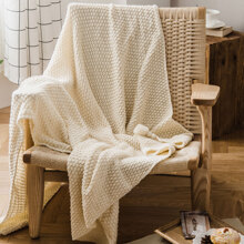 1pc Solid Color Knitted Blanket