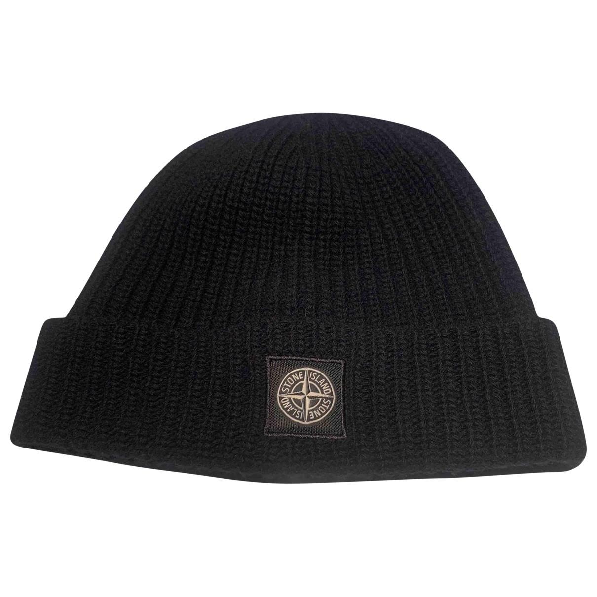 Stone Island - Chapeau & Bonnets   pour homme en laine - noir