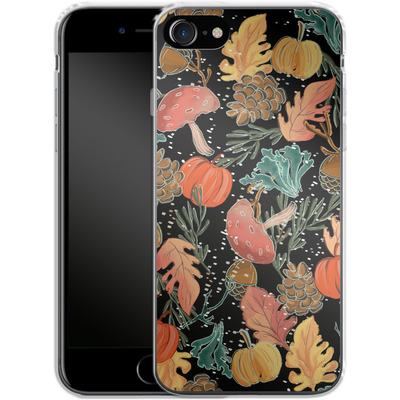 Apple iPhone 8 Silikon Handyhuelle - Fall Woodland Black von Mukta Lata Barua