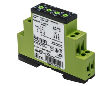 Tele SPDT Multi Function Timer Relay - 50 ms → 100 h, 1 Contacts, DIN Rail