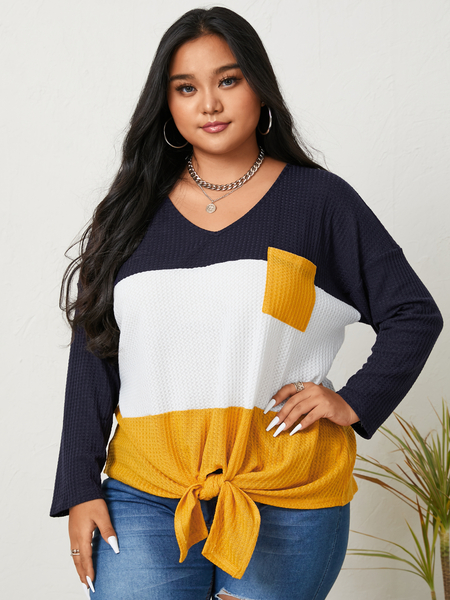 YOINS Plus Size V-neck Patchwork Tie-up Design Long Sleeves Knitwear