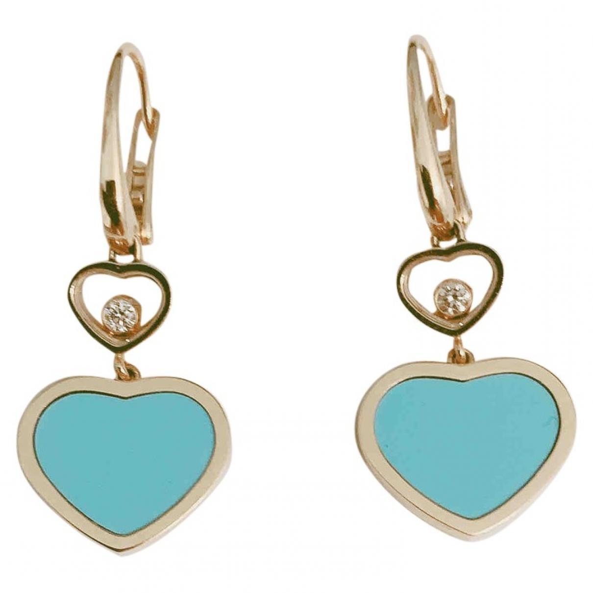 Chopard - Boucles doreilles Happy Hearts pour femme en or rose - turquoise