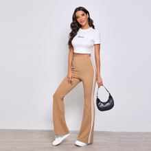 Hose mit Kontrast, Streifen, Band und ausgestelltem Beinschnitt