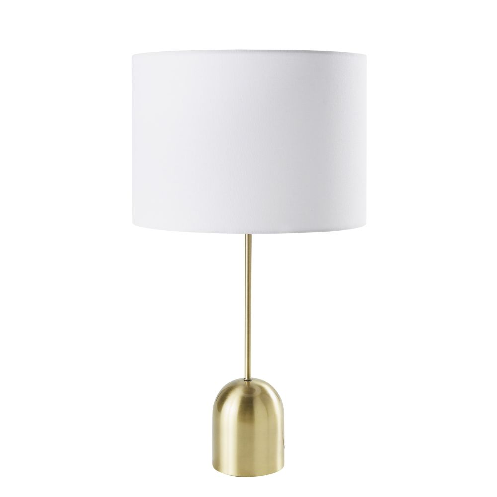 Lampe aus messingfarbenem Metall mit weissem Lampenschirm