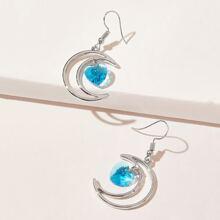 Moon & Heart Drop Earrings
