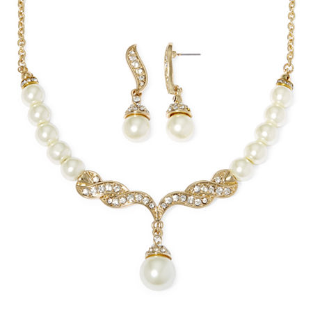 Monet Simulated Pearl and Crystal Gold-Tone Drop Earring and Necklace Set, One Size , White