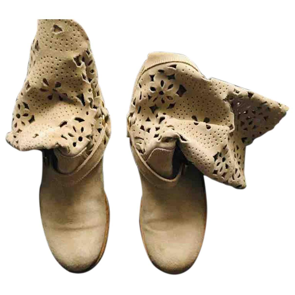 Twin Set - Bottes   pour femme en tweed - beige