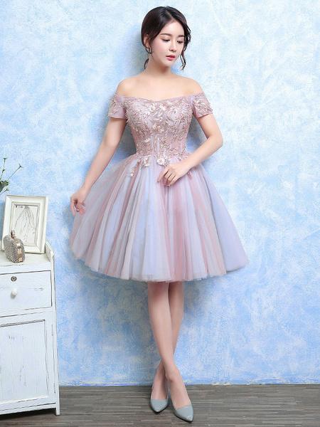 Milanoo Vestidos de fiesta cortos Vestido de Baile de tul Rosado ligero con escote de hombros caidos De banda de encaje de linea A con manga corta con