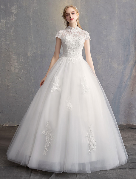 Milanoo Princess Wedding Dresses Ball Gown Ivory Lace Flowers Stand Collar Tulle Floor Length Bridal Dress