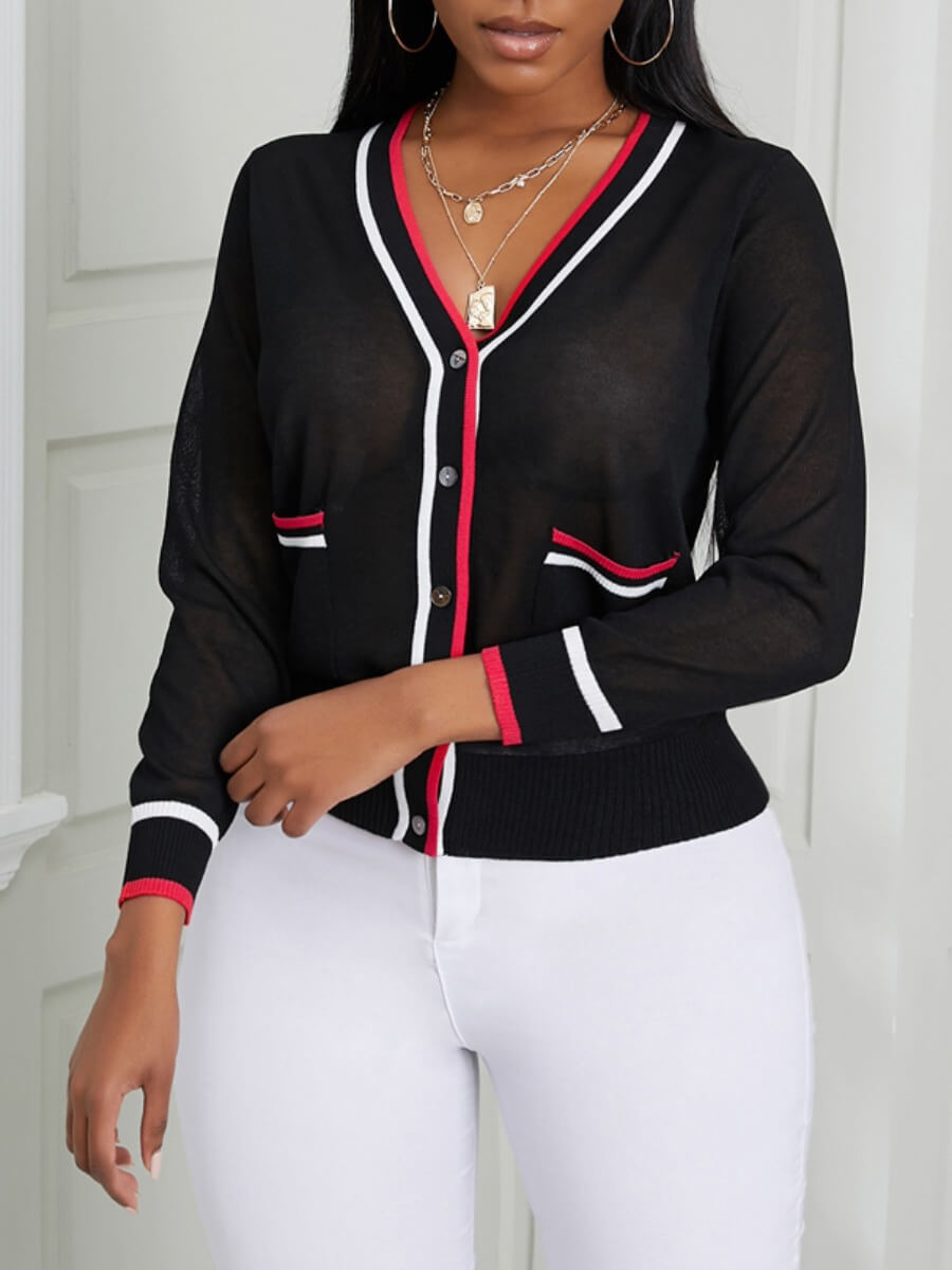 LW Lovely Casual Pocket Design Striped Patchwork Black Cardigan