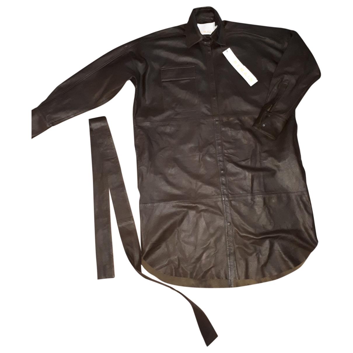 Birger Christensen \N Green Leather Leather jacket for Women 40 IT