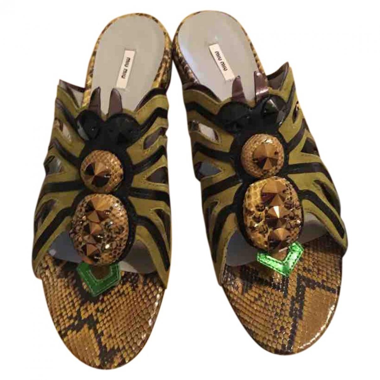 Miu Miu - Sandales   pour femme en python - vert
