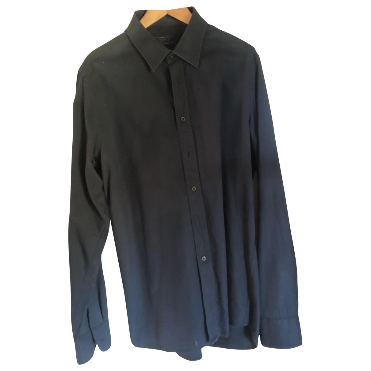 Prada \N Navy Cotton Shirts for Men 17.5 UK - US (tour de cou / collar)
