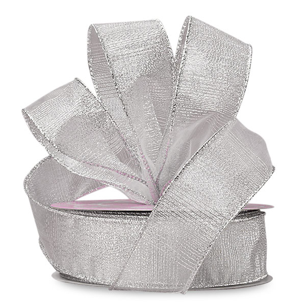 2 1/2 X 10 Yards Silver Blocked Sheer Metallic Ribbon by Ribbons.com