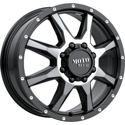 Moto Metal MO995 Front Dually Wheel, 20x8.25 with 8x165.1 Bolt Pattern - Gloss Black Machined - MO995208903127