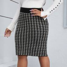 Plus Houndstooth Pencil Sweater Skirt