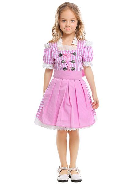 Milanoo Disfraz de niños Halloween Disfraces de Halloween para niños Peach Beer Girl Poliester para niños Dres Delantal de cuerpo inferior Disfraz Car