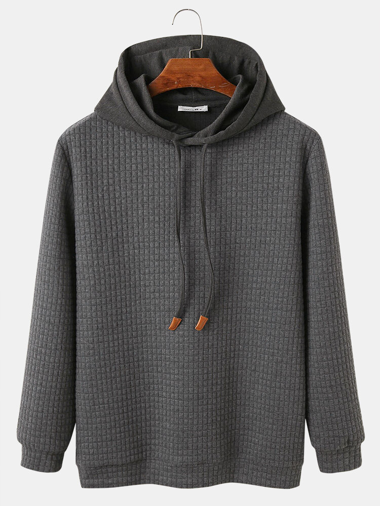 Mens Solid Color Waffle Casual Loose Fit Drawstring Hoodies