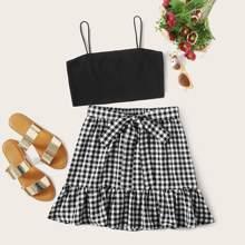 Cami Top & Tie Front Ruffle Hem Gingham Skirt Set
