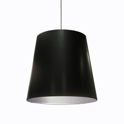 OD-L-697 1 Light Tapered Drum Pendant With Black On Silver