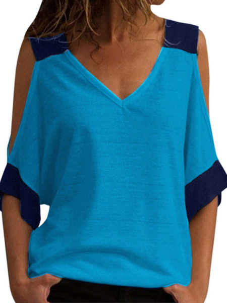 Milanoo Half Sleeves Tees V Neck Two Tone Open Shoulder T Shirt For Women