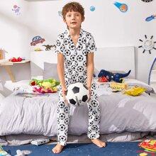 Boys Allover Soccer Print Lapel Neck PJ Set