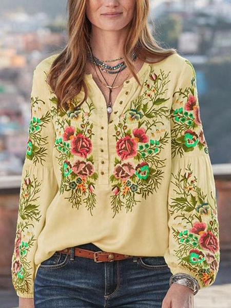 Milanoo Blusa de mujer Camisa de manga larga con cuello en V bordado floral Tops