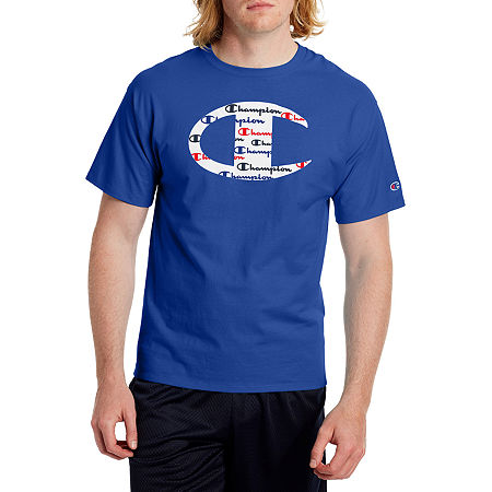 Champion Mens Crew Neck Short Sleeve T-Shirt, Xx-large , Blue