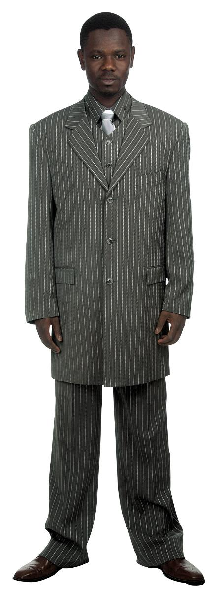 3 Button Grey Pinstripe and Bold Pronounce Suit and Vest Mens