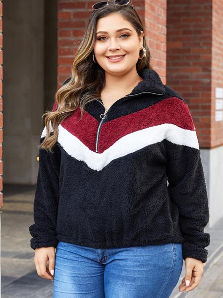 Yoins Plus Size Black Zip Front Patchwork Long Sleeves Teddy Sweatshirt