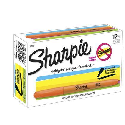 Sharpie@ Smear-Guard Ink Pocket Highlighter, 12/Pack - Fluorescent Orange