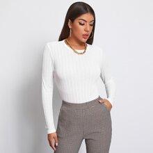 Rib-knit Solid Top