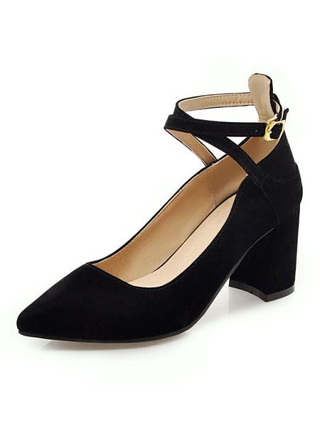 Milanoo Pointed Toe Heels Suede Burgundy Criss Cross Chunky Heel Pumps For Women