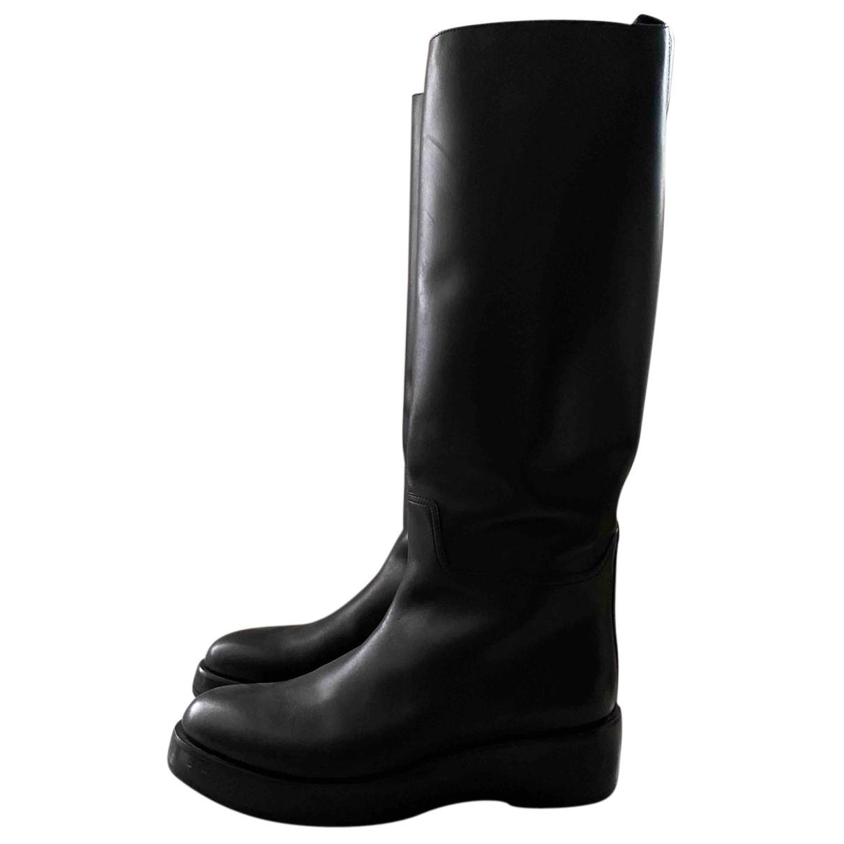The Row - Bottes   pour femme en cuir - noir