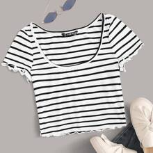 Ribbed Striped Lettuce-Edge Crop Top