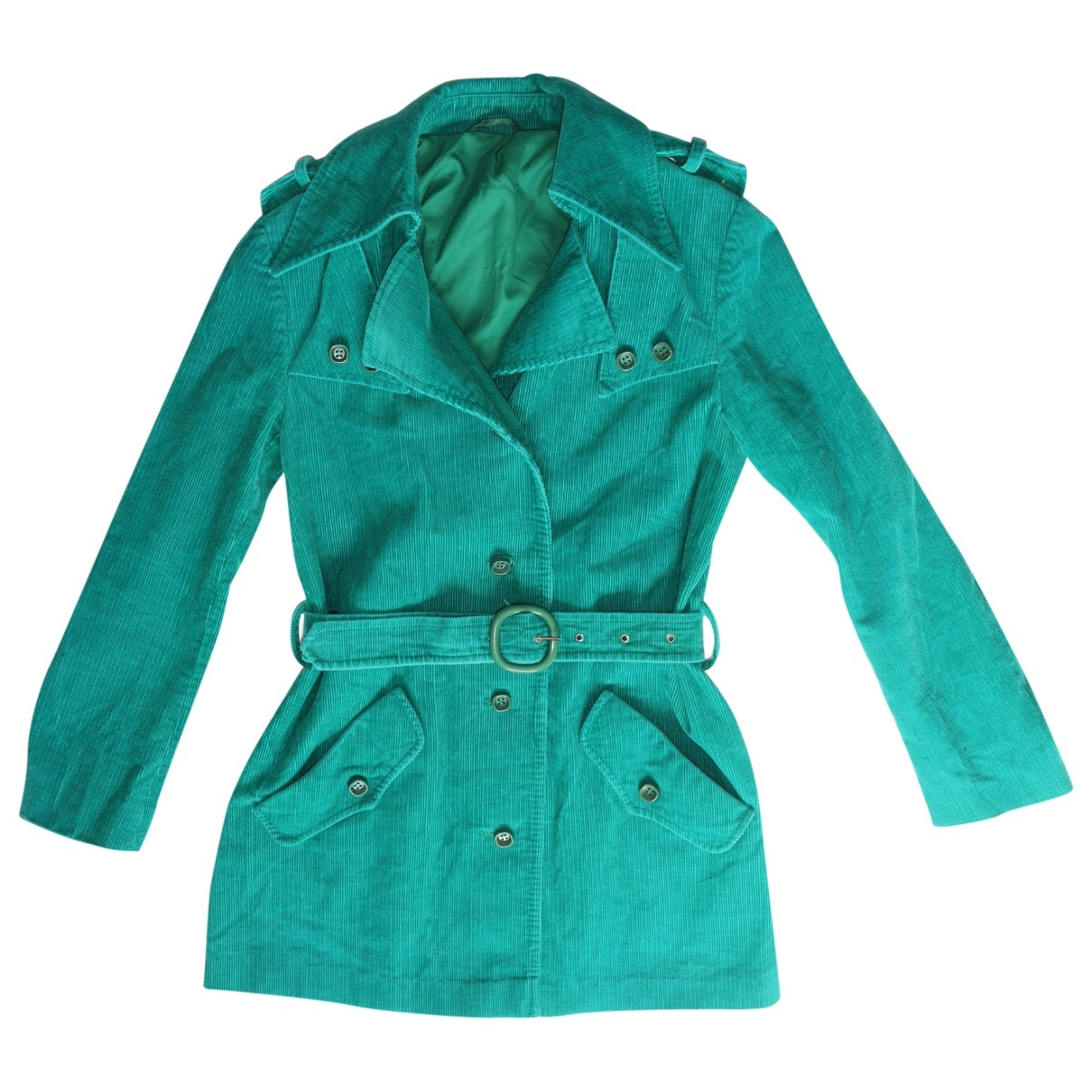 Non Signé / Unsigned \N Turquoise Cotton Trench coat for Women M International
