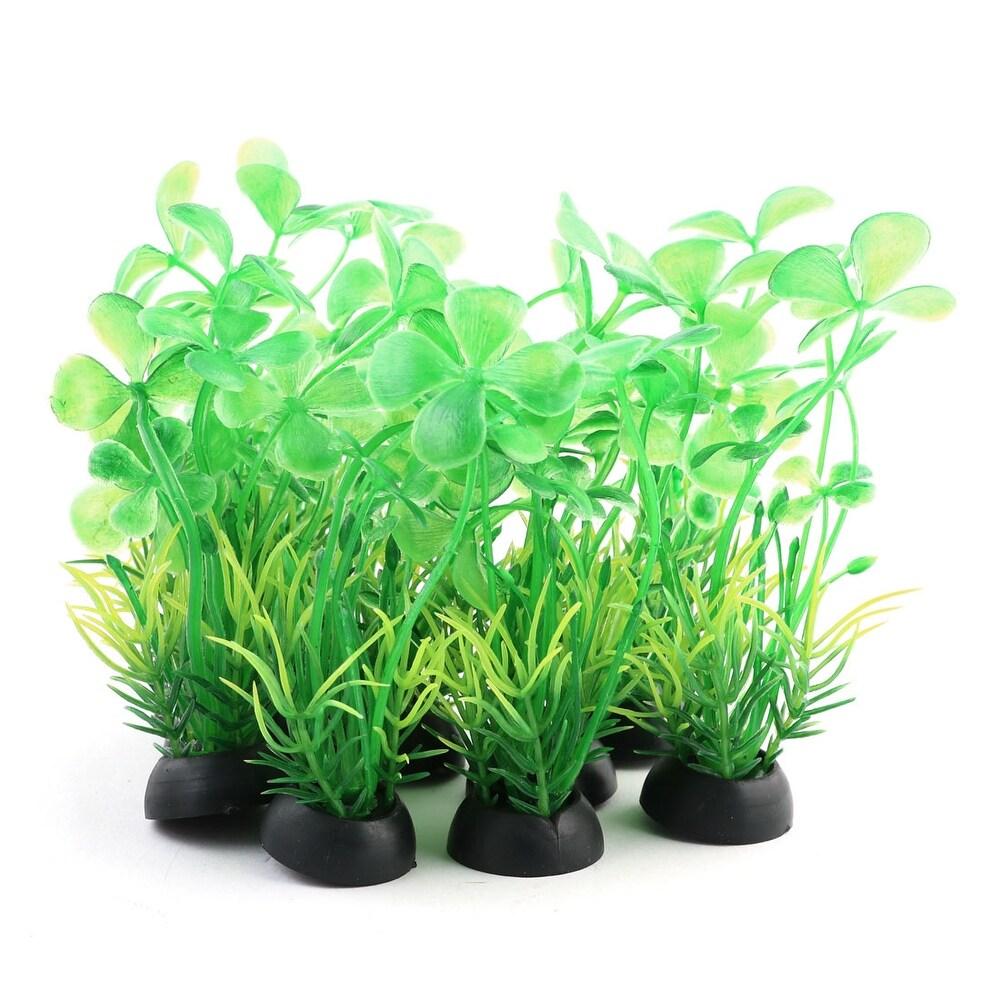 Fish Tank Plastic Landscape Artificial Grass Decoration Plant Green 10pcs - Black,Green (Black,Green)