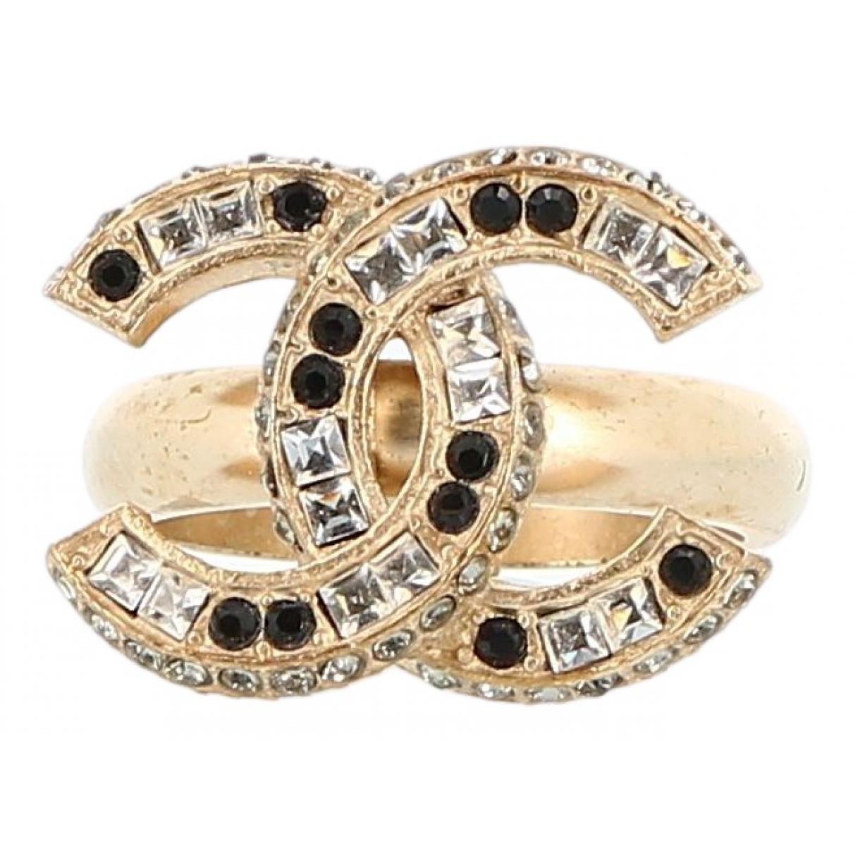 Chanel - Bague CC pour femme en plaque or - multicolore