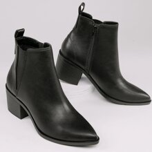 Faux Leather Pointed Toe Chelsea Boots