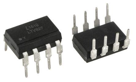 Lite-On , LTV-827 DC Input Transistor Output Dual Optocoupler, Through Hole, 8-Pin PDIP (50)