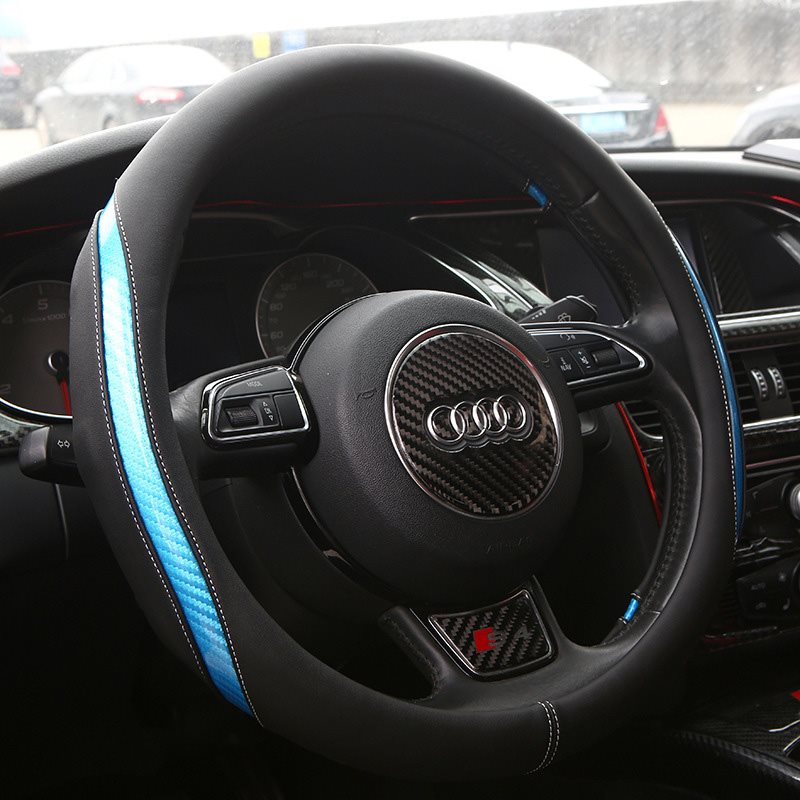 Simple Style PU Leather Universal Steering Wheel Cover Anti-slip Protector Fit 38CM/15INCH Available In A Variety Of Colors